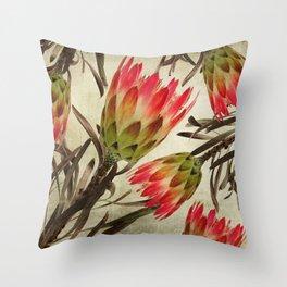 Vintage Repens Proteas Throw Pillow