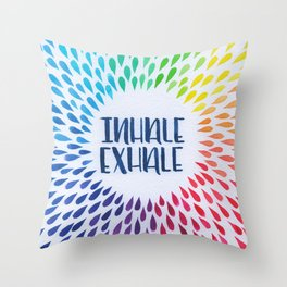 Hand Lettered Water Color - Inhale Exhale - Yoga and Meditation Decor Throw Pillow