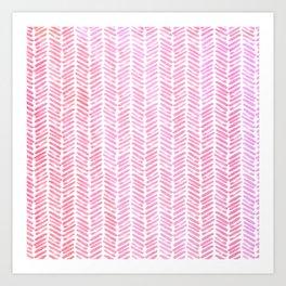 Handpainted Chevron pattern small - pink watercolor on white Art Print