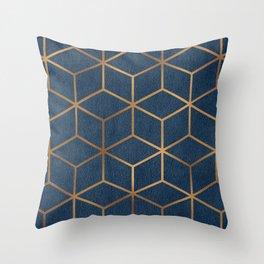 Dark Blue and Gold - Geometric Textured Cube Design Throw Pillow