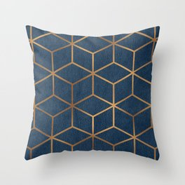 Dark Blue and Gold - Geometric Textured Cube Design Throw Pillow
