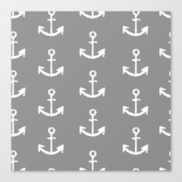 Anchors - Gray with White Canvas Print