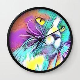 Tuxedo Cat - Long Haired - Rainbow Art Wall Clock