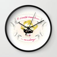 cowboy Wall Clocks featuring Cowboy by la belette rose