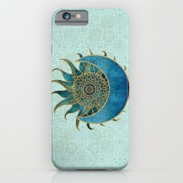 Sun And Moon Universe Celestial Art Gold And Turquoise iPhone Case