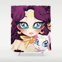luna Shower Curtains featuring Luna by Corpse Cutie