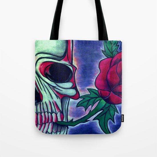 Skull & Red Rose Tote Bag