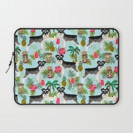 Schnauzer tiki pattern floral hibiscus floral flower pattern palm leaves Laptop Sleeve