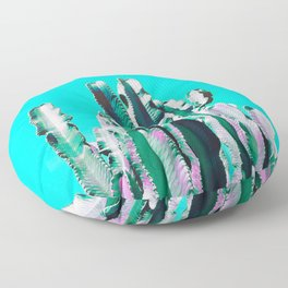 Majestic Cactus - Aqua Floor Pillow