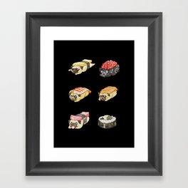 Sushi Pug Watercolor Framed Art Print