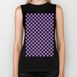 Black and Lavender Violet Checkerboard Biker Tank