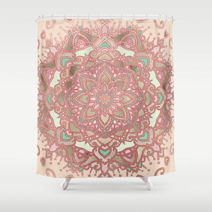 Rose gold cyan mandala Shower Curtain
