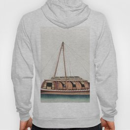 Chinese painting featuring river freight junk (ancient Chinese ship) (ca1800-1899) from the Miriam a Hoody