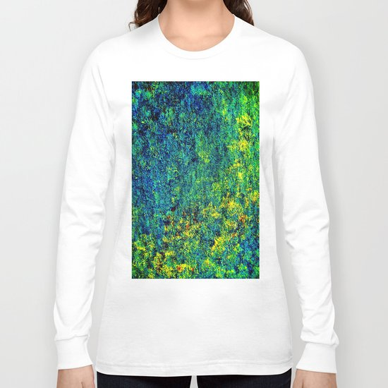 Abstract Flowers yellow and green Long Sleeve T-shirt