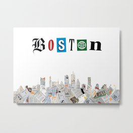 MBTA Boston Skyline - White Metal Print