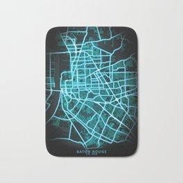 Baton Rouge, LA, USA, Blue, White, Neon, Glow, City, Map Bath Mat