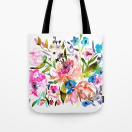 WATERCOLOUR PEONY AND ROSES Tote Bag