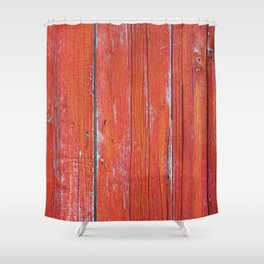 Red Rustic Fence rustic decor Shower Curtain