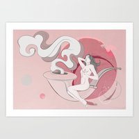 The Woman on the Smoking Pipe Art Print
