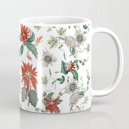 Festive Red Green Botanical Poinsettia Cactus Floral Pattern Coffee Mug