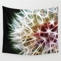 dandelion Wall Tapestries featuring Fractal dandelion by Mark Nelson