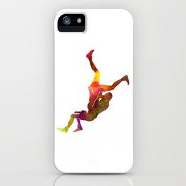 Wrestlers wrestling men 02 in watercolor iPhone Case