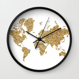 world map white gold Wall Clock