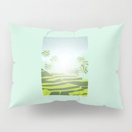 Tegalalang Rice Terraces, Bali, Indonesia Travel Poster Pillow Sham