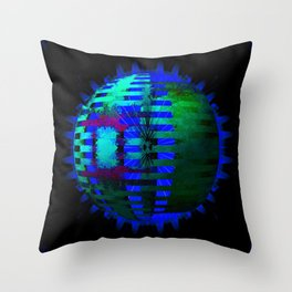 Green Layered Star in Blue Flames Throw Pillow