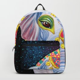 Indian Holi Elephant Watercolor and Acrylic Painting Backpack