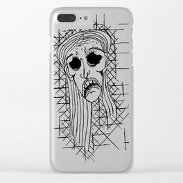 Exhausted Face Clear iPhone Case