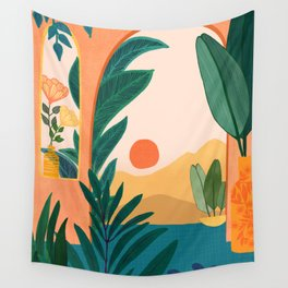 Santa Fe Oasis / Desert Landscape with Plants Wall Tapestry