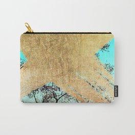 Modern tree sky blue gold brushstroke photography glitch Carry-All Pouch