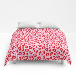 Leopard Print - Red And Pink Comforters