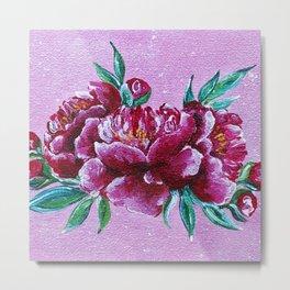 Peonies on pink Metal Print