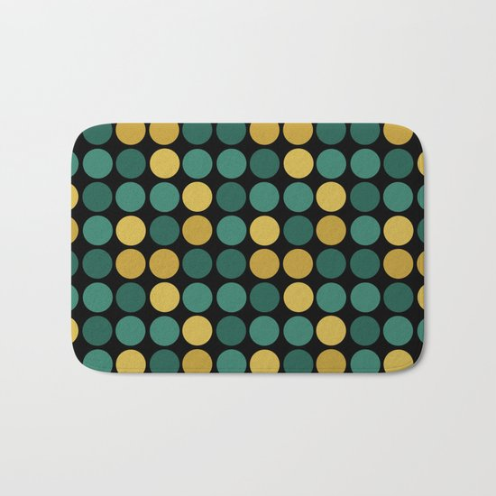 Yellow green polka dots on a black background . Bath Mat