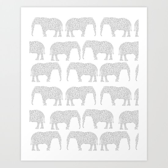 Geometric Elephant grey monochromatic minimal gray and white kids children pattern print  Art Print