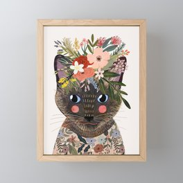 Siamese Cat with Flowers Framed Mini Art Print