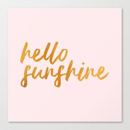 Hello sunshine - Gold and Pink Canvas Print