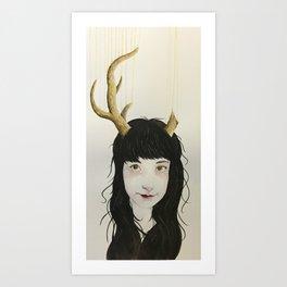 Girl With Antlers I Art Print