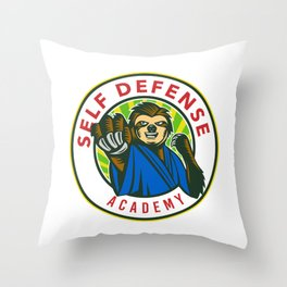 Sloth Karate Self Defense Badge Throw Pillow