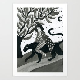 Casual walk with a panther Art Print