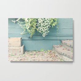 Shabby Chic Art, French Courtyard with mint wood wall, autumn leafs and tiny flowers Metal Print