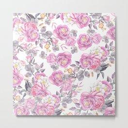 Elegant pink gray watercolor botanical roses flowers Metal Print