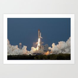 834. Space shuttle Discovery erupts from the billowing steam below and leaps into a clear blue sky over Central Florida on its STS-124 mission Art Print