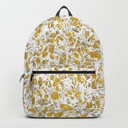 Real gold granite terrazzo pattern Backpack