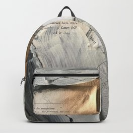 Too Soon   Collage Series 1   mixed-media piece in gold, black and white + book pages Backpack