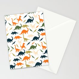 Dinos in Pastel Green and Orange Stationery Cards