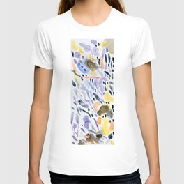 Yellows and purples in watercolor T-shirt