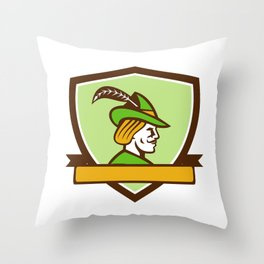 Robin Hood Side Ribbon Crest Retro Throw Pillow